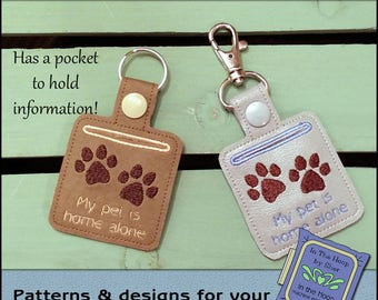 ITH Pet Home Alone Paw Print Vinyl Key Fob - Pet Home Alone Key Fob- Keychain with Snap Tab - Machine Embroidery Design