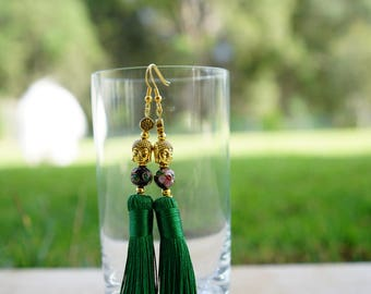 Dark green and gold tassel earrings