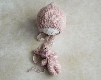 Set knitted bunny toy and baby hat - handmade, hand knitted, photo props, baby goods