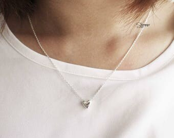 Mini Heart Necklace - Sterling Silver Jewelry - Minimal - Girly Jewelry - Handmade - Made in Vietnam -