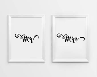 Mr and Mrs Print, Mr and Mrs, Mr and Mrs Wall Art, Mr and Mrs Prints, Newlyweds Print, Bride to Groom Gift, Gifts for Newlyweds