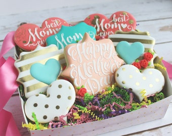 Mother's Day Boho Chic/Kate Spade Inspired Sugar Cookies Set - Ready for Gift Giving - Sugar Cookies, Mothers' Day, Kate Spade Cookies