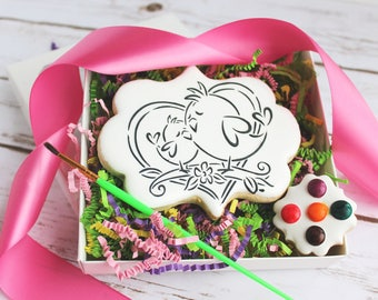 Mother's Day Paint Your Own Mama and Baby Bird Sugar Cookie - Ready for Gift Giving - Bird Sugar Cookies, PYO Cookies