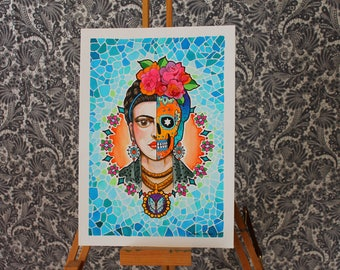 Frida Skull - neo traditional tattoo art flash print