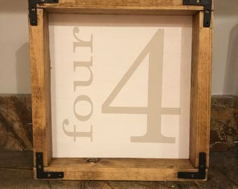 "ON SALE!!! 10"" X 11 1/2"" Number sign - framed wood sign farmhouse decor"