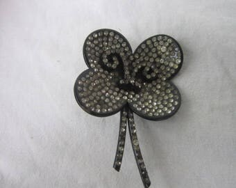 Antique Rare Black with Rhinestones Very Large Four Leaf Clover Flower Brooch
