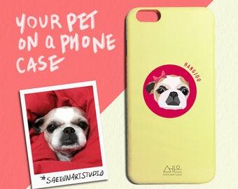 custom pet illustration phone case - iPhone, Samsung Galaxy, LG all types - handmade portrait