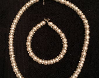 Swarovski Pearl and Rhinestone Necklace and Bracelet