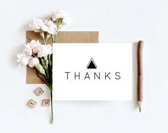 Printable Thank You Cards, Stationary, minimalist black and white  Print