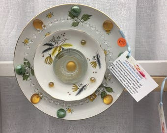 Garden art Blooms - Vintage China and glass in white, yellow and green Forever Bloom