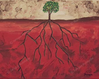 Contemporary art tree roots art print artwork red brown beige green wall art illustration painting reproduction