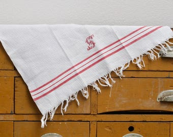 French Vintage Embroidered Kitchen Towel S Red and White