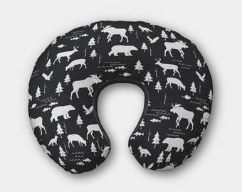 Woodland Boppy Pillow Cover - Moose Boppy Cover - Bear Boppy Cover - Moose Bedding Cover -Designer Boppy Cover - Deer Bedding -READY TO SHIP