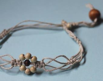Hempstring Beaded Flower Bracelet