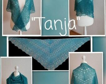 Handknit lace cloth, scarf, shawl, alpaca, hand knitted, green