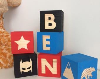 Personalised Wooden Name Blocks/ Baby gift/