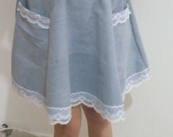 Denim skirt, Full circle skirt with lace embroidery