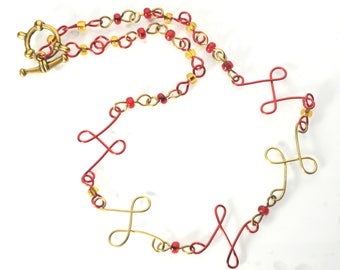 Red and Gold Loopy Choker