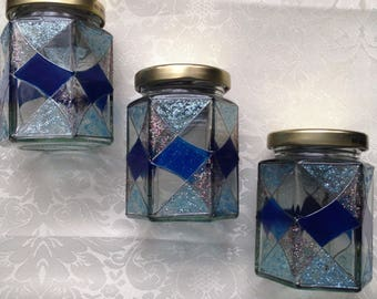 Blue Art Deco style glass jars set