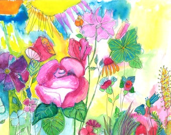 Flowers,garden, nature art, print, abstract, watercolor, ink, art, drawing, drawing, painting, 8x11 inches
