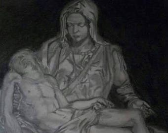 "Michael Angelo's sculpture ""La Pietá""  imitation drawing"