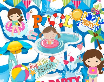 Pool party, Pool party clipart, pool party idea, clip art, design pool party, birthday, party, children clipart, instant Download, PNG