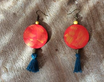 "Earrings ""Chinese Lantern"" style Bohemian"