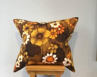 Designer Cushion,70'sRetro cushion, Handmade pillow,Floral cushion,Interior design cushion,Vintage cushion,Printed floral pillow.