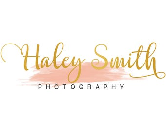 Premade gold foil logo design, photography logo, watercolor logo, handwritten logo, branding template, feminine logo, gold foil photography