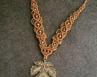 macrame necklace with leaf pendant