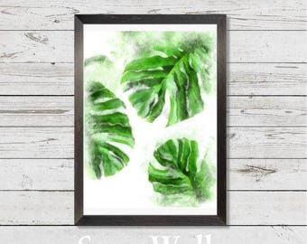 Original water-color print, leaves, tropical leaves, wall decor, instant digital, art, painting, green