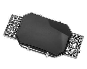 Art Deco Marcasite & Onyx Brooch