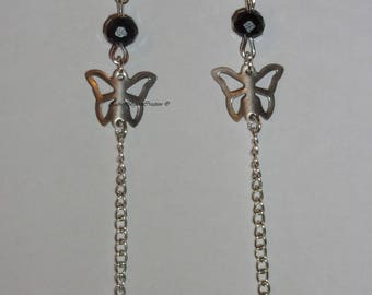 Butterfly and swarovski crystal earrings.