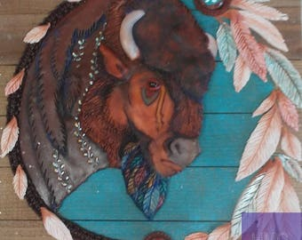 Buffalo polymer clay bas relief wall hanging