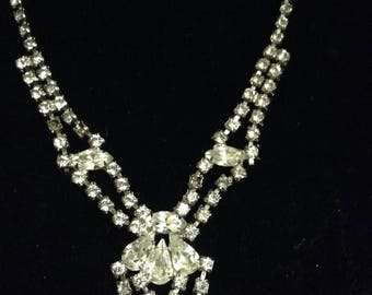 Clear Crystal and CZ Dramatic Teardrop Stylized Bib Necklace