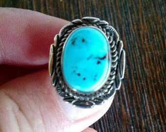 Sleeping Beauty Turquoise Sterling Silver Ring sz 8