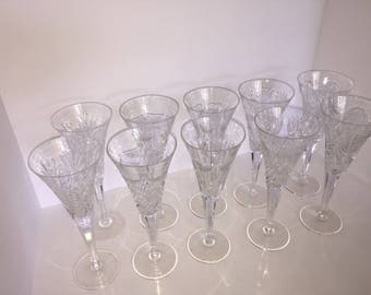 Vintage Waterford Champagne Flutes, 10pc