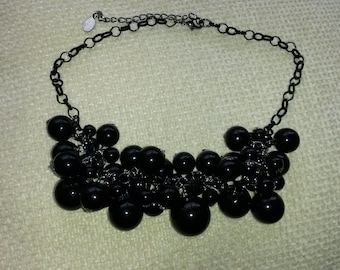 Vintage, black beaded statement necklace.