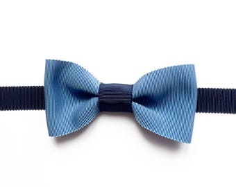 Bow tie blue storm & Blue Navy - bow tie wedding - gift man - hand made-