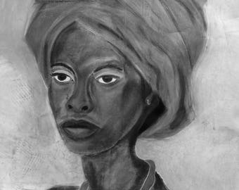 African Woman Pastel Drawing in B/W