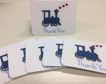Thank You Cards (for boy's event) : Locomotion Train  [Qty = 10]