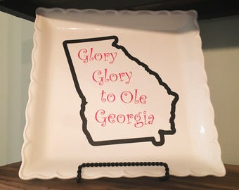 Glory to Ole Georgia Platter Custom Vinyl Design UGA GA
