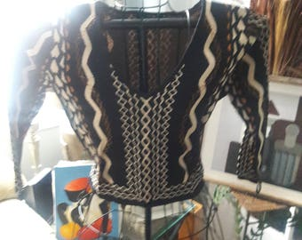 Tribal Cropped Top Sweater