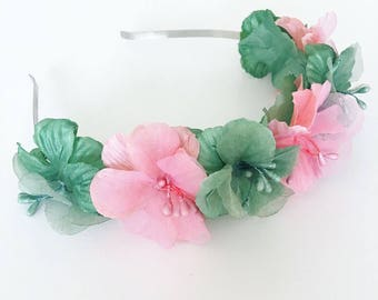 Green and Peachy Pink Satin Hibiscus Floral Headband. Boho Flower Crown. Festival Floral Headband