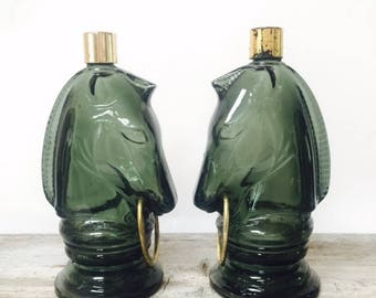 Pair of Vintage Avon Horse with Bit After Shave Decanter/Perfume Bottle/ Cologne Bottle / Collectible Avon Bottle