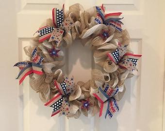 "4th July Burlap ribbon 15"""