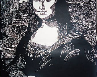 Paper cutting art, Mona Lisa Smile, paper cut pictures 36 x 48 cm