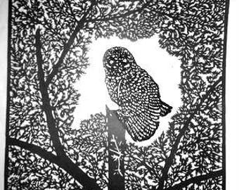 Paper cutting art, paper cut picture, the night owl in a tree 34 x 25 cm