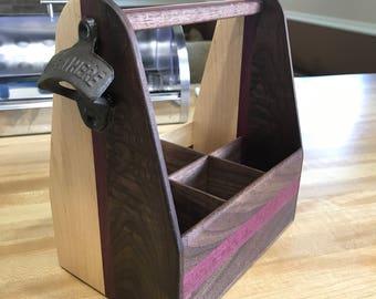 Handmade hardwood 6 pack carrier.  Walnut, Purpleheart, Maple