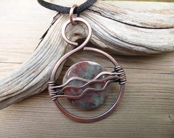 artisan jewelry, pendant necklace, hand made copper jewelry, wire wrapped stone unique necklaces for women dragon blood jasper, wire wrap